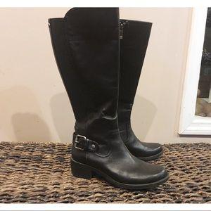 Ann Klein Calf High Leather Black Riding Boots